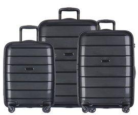 Zestaw trzech walizek PUCCINI PP013 Madagaskar czarny